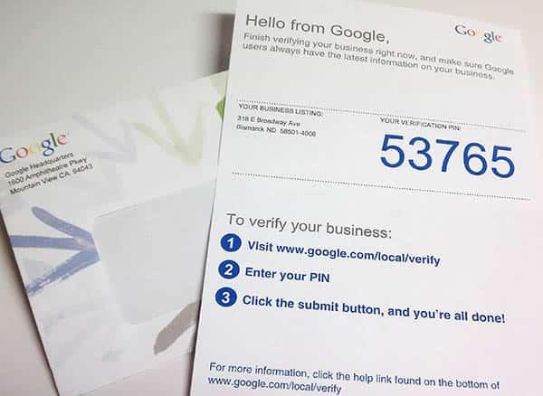Courrier pour valider votre entreprise sur Google My Business