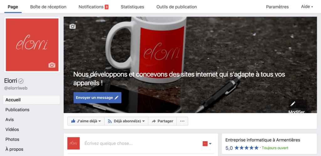 Exemple page Facebook avec photo de profil, photo de couverture et avis